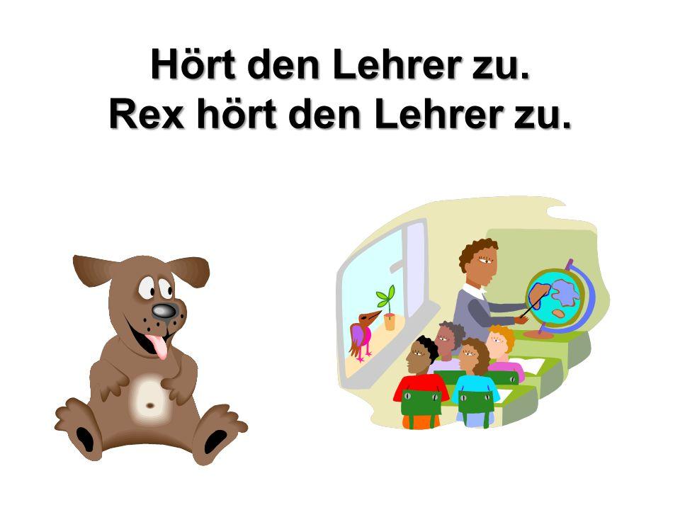 Hört den Lehrer zu. Rex hört den Lehrer zu.