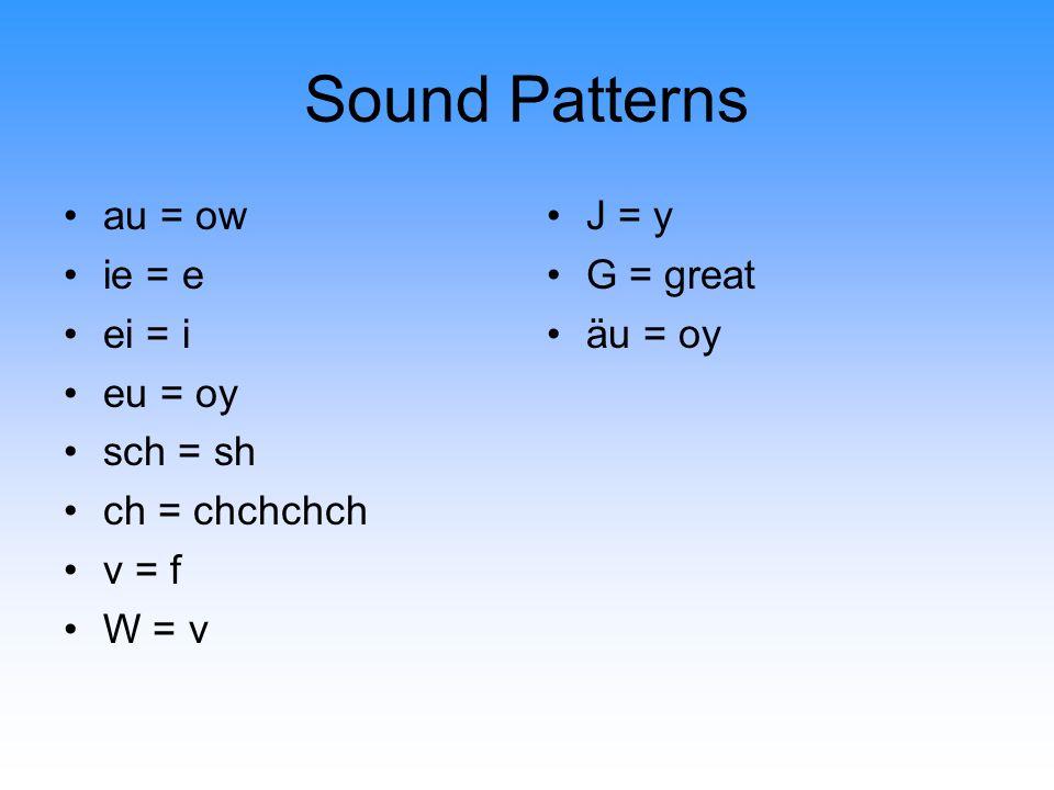 Sound Patterns au = ow ie = e ei = i eu = oy sch = sh ch = chchchch v = f W = v J = y G = great äu = oy