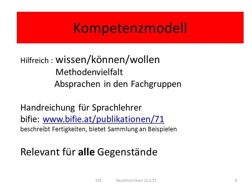 Kompetenzmodell Hilfreich : wissen/können/wollen Methodenvielfalt Absprachen in den Fachgruppen Handreichung für Sprachlehrer bifie: www.bifie.at/publ