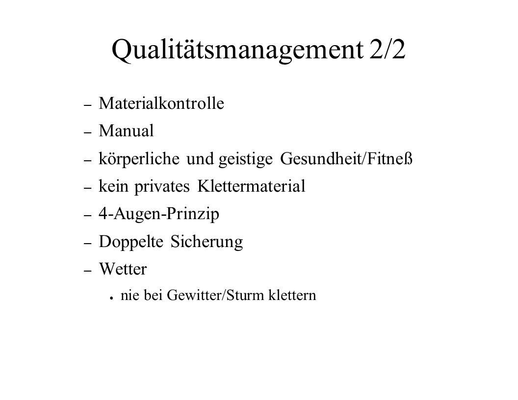 Qualitätsmanagement 2/2 – Materialkontrolle – Manual – körperliche und geistige Gesundheit/Fitneß – kein privates Klettermaterial – 4-Augen-Prinzip –