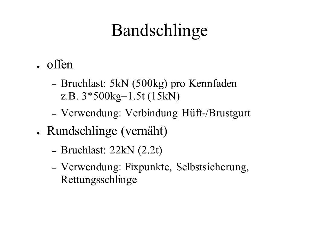 Bandschlinge offen – Bruchlast: 5kN (500kg) pro Kennfaden z.B. 3*500kg=1.5t (15kN) – Verwendung: Verbindung Hüft-/Brustgurt Rundschlinge (vernäht) – B
