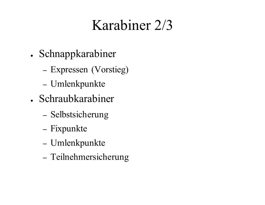 Karabiner 2/3 Schnappkarabiner – Expressen (Vorstieg) – Umlenkpunkte Schraubkarabiner – Selbstsicherung – Fixpunkte – Umlenkpunkte – Teilnehmersicheru