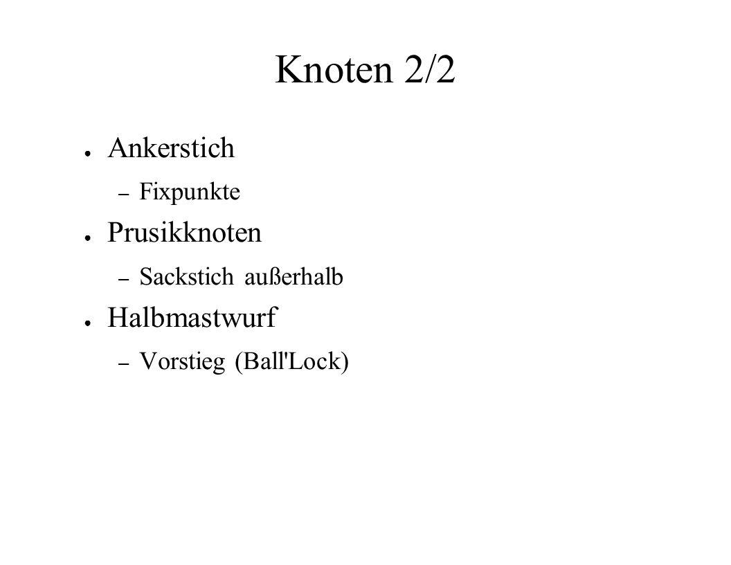 Knoten 2/2 Ankerstich – Fixpunkte Prusikknoten – Sackstich außerhalb Halbmastwurf – Vorstieg (Ball'Lock)