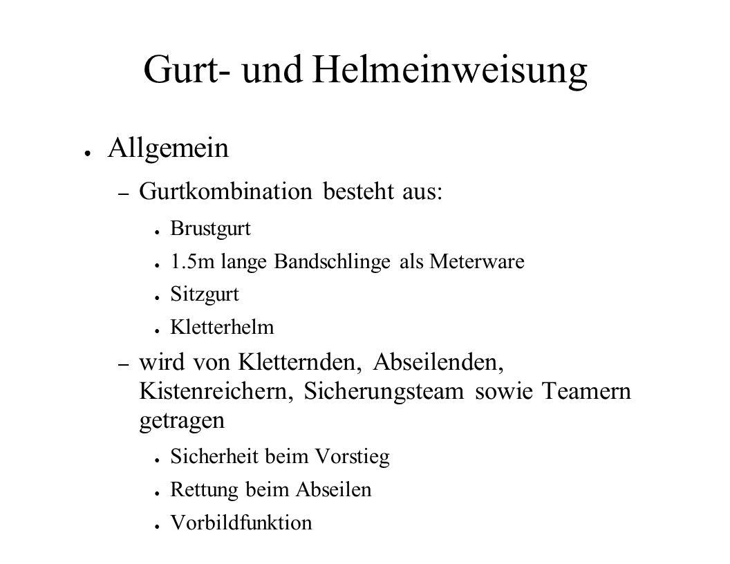 Gurt- und Helmeinweisung Allgemein – Gurtkombination besteht aus: Brustgurt 1.5m lange Bandschlinge als Meterware Sitzgurt Kletterhelm – wird von Klet