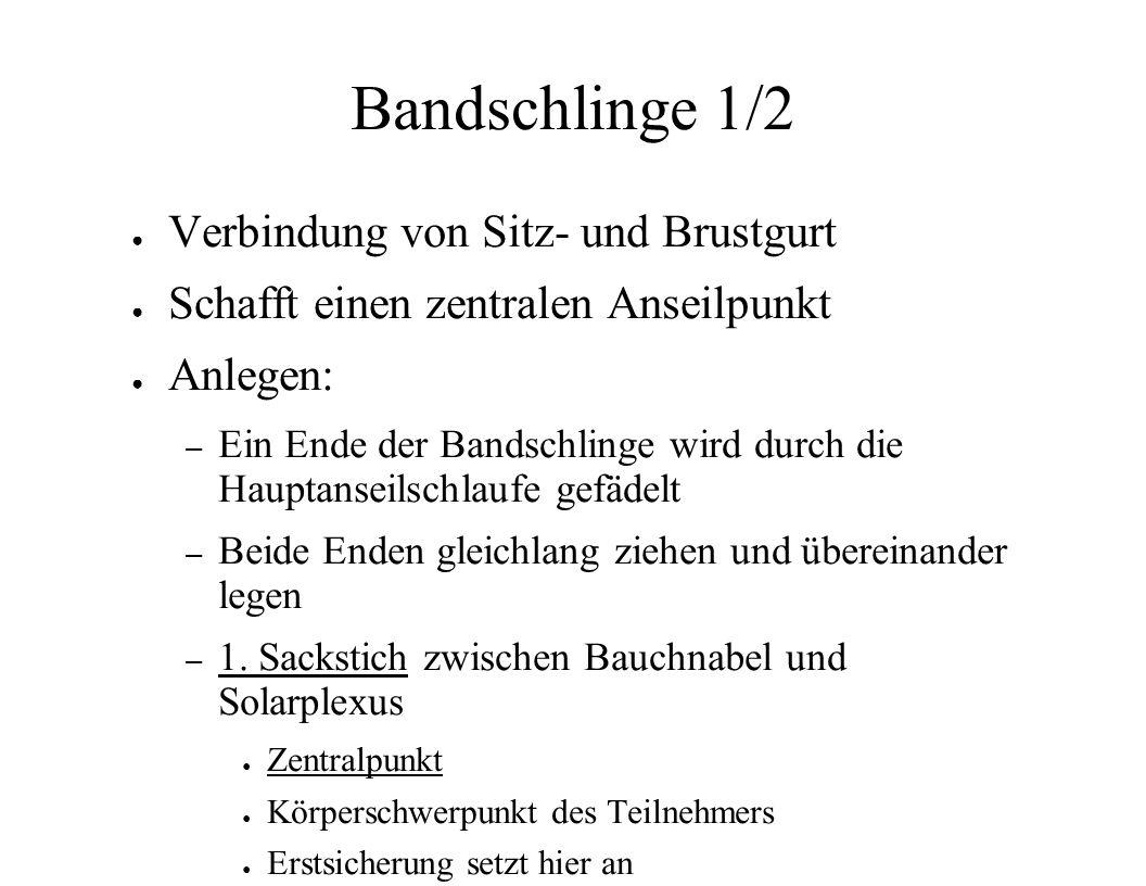 Bandschlinge 1/2 Verbindung von Sitz- und Brustgurt Schafft einen zentralen Anseilpunkt Anlegen: – Ein Ende der Bandschlinge wird durch die Hauptansei