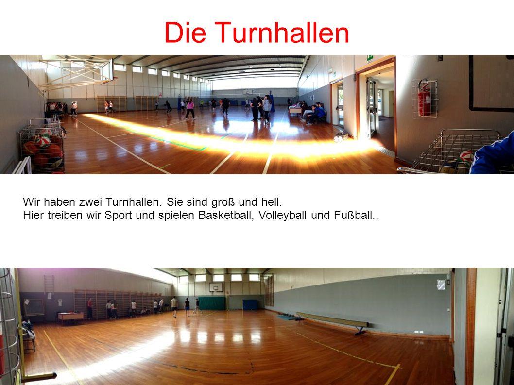 Die Turnhallen Wir haben zwei Turnhallen. Sie sind groß und hell. Hier treiben wir Sport und spielen Basketball, Volleyball und Fußball..