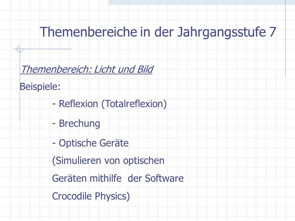 Themenbereiche in der Jahrgangsstufe 7 Themenbereich: Licht und Bild Beispiele: - Reflexion (Totalreflexion) - Brechung - Optische Geräte (Simulieren