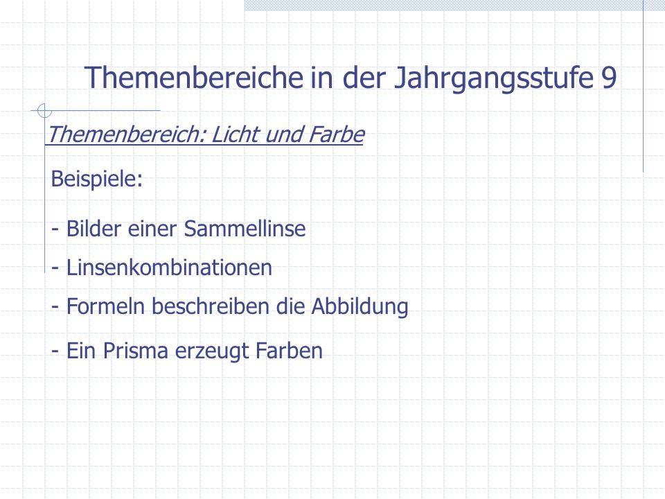 Themenbereiche in der Jahrgangsstufe 9 Themenbereich: Licht und Farbe Beispiele: - Bilder einer Sammellinse - Linsenkombinationen - Formeln beschreibe