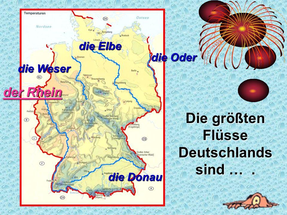 Die größten Flüsse Deutschlands sind …. der Rhein der Rhein die Weser die Elbe die Oder die Donau