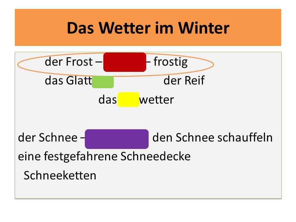 Das Wetter im Winter der Frost – frieren – frostig das Glatteis der Reif das Tauwetter der Schnee – schneien den Schnee schauffeln eine festgefahrene