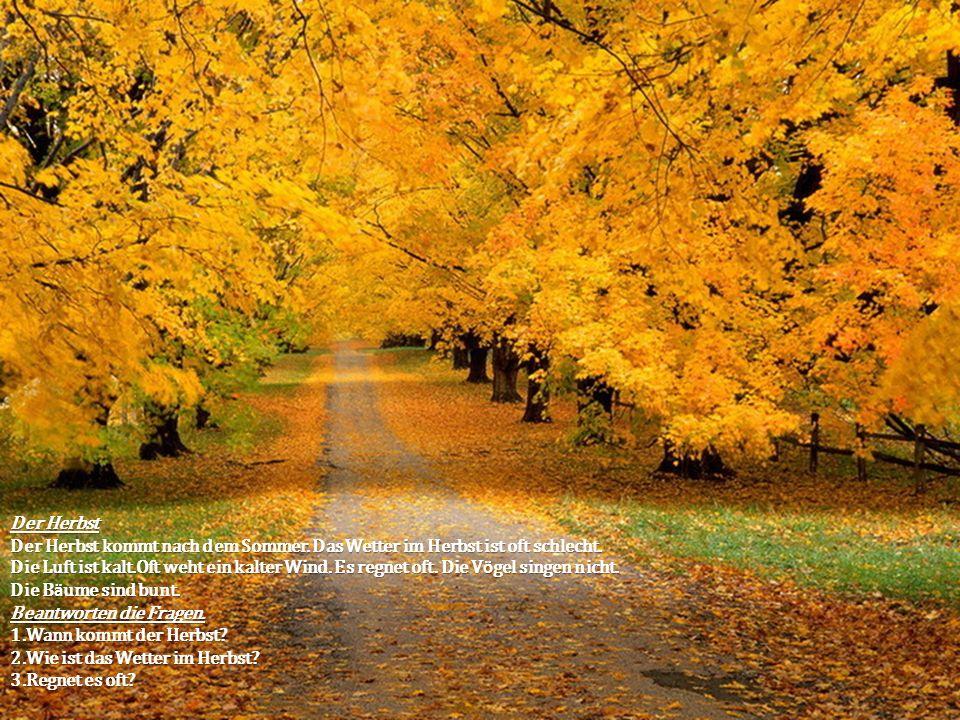 Der Herbst Der Herbst kommt nach dem Sommer. Das Wetter im Herbst ist oft schlecht. Die Luft ist kalt.Oft weht ein kalter Wind. Es regnet oft. Die V ö