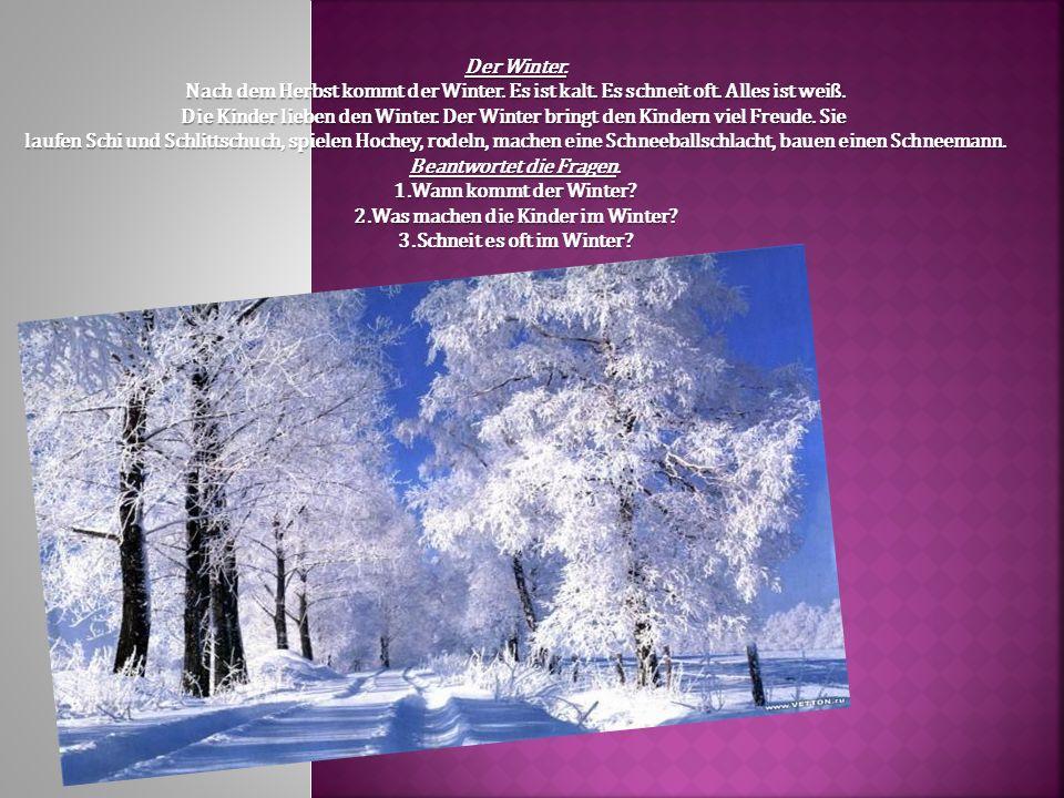 Der Winter. Nach dem Herbst kommt der Winter. Es ist kalt. Es schneit oft. Alles ist wei ß. Die Kinder lieben den Winter. Der Winter bringt den Kinder