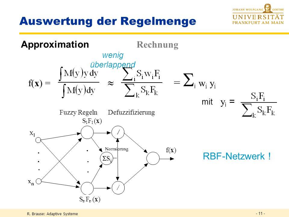 R. Brause: Adaptive Systeme - 11 - Auswertung der Regelmenge Approximation Rechnung f(x) = = i w i y i wenig überlappend Fuzzy Regeln Defuzzifizierung