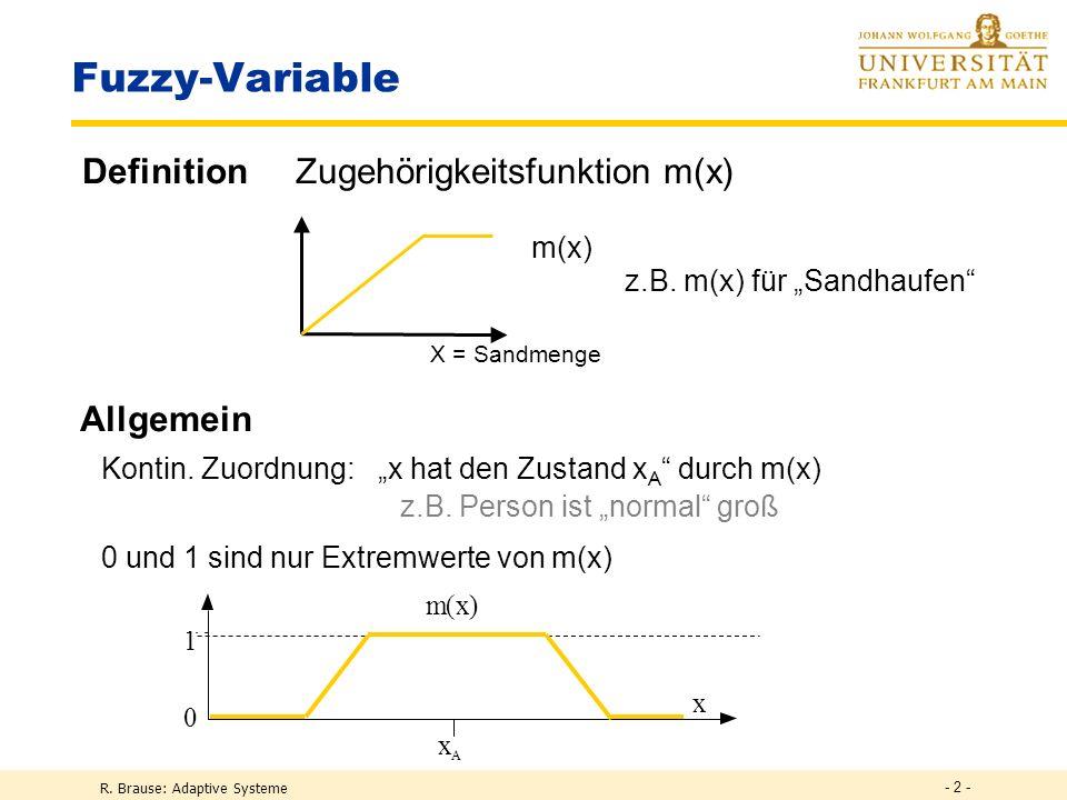 R. Brause: Adaptive Systeme - 2 - Fuzzy-Variable DefinitionZugehörigkeitsfunktion m(x) m(x) 1 0 x x A Allgemein Kontin. Zuordnung: x hat den Zustand x