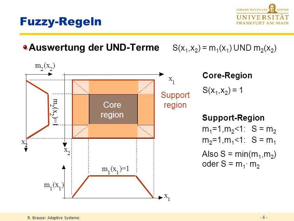 R. Brause: Adaptive Systeme - 6 - Fuzzy-Regeln Auswertung der UND-Terme S(x 1,x 2 ) = m 1 (x 1 ) UND m 2 (x 2 ) Core region Support region Core-Region