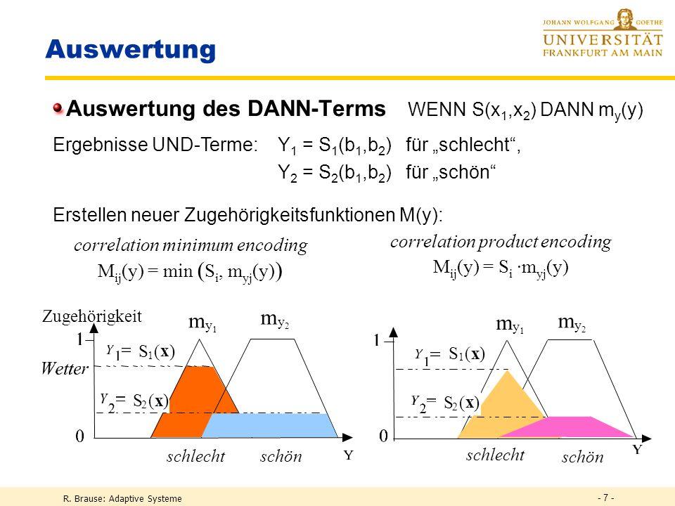 R. Brause: Adaptive Systeme - 7 - schlecht schön m y1y1 m y2y2 Auswertung Auswertung des DANN-Terms WENN S(x 1,x 2 ) DANN m y (y) S 1 ( x ) Zugehörigk