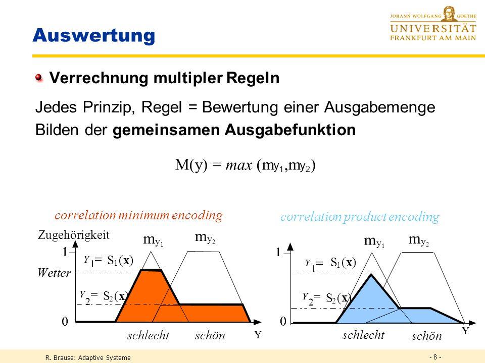 R. Brause: Adaptive Systeme - 8 - Auswertung Verrechnung multipler Regeln Jedes Prinzip, Regel = Bewertung einer Ausgabemenge Bilden der gemeinsamen A