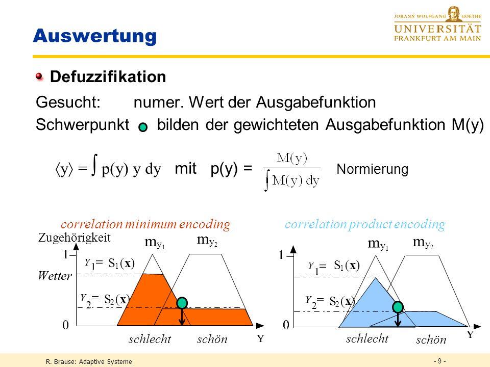 R. Brause: Adaptive Systeme - 9 - Auswertung Defuzzifikation Gesucht: numer. Wert der Ausgabefunktion Schwerpunkt bilden der gewichteten Ausgabefunkti