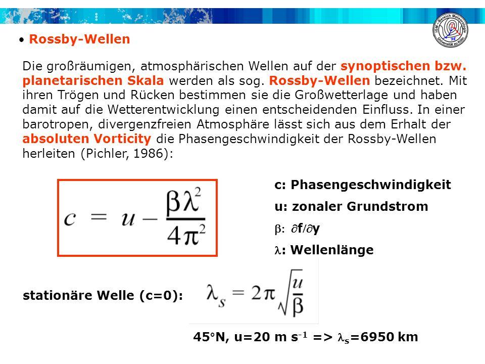 Rossby-Wellen Die großräumigen, atmosphärischen Wellen auf der synoptischen bzw. planetarischen Skala werden als sog. Rossby-Wellen bezeichnet. Mit ih