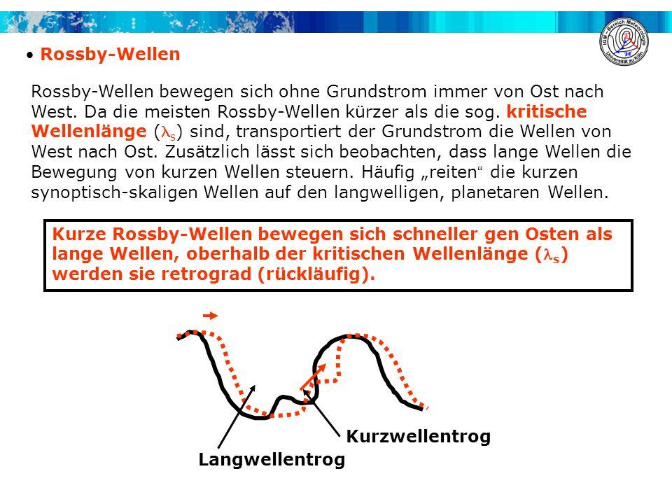 Rossby-Wellen Rossby-Wellen bewegen sich ohne Grundstrom immer von Ost nach West. Da die meisten Rossby-Wellen kürzer als die sog. kritische Wellenlän