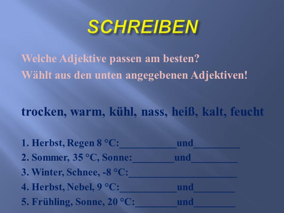 Welche Adjektive passen am besten? Wählt aus den unten angegebenen Adjektiven! trocken, warm, kühl, nass, heiß, kalt, feucht 1. Herbst, Regen 8 °С:___