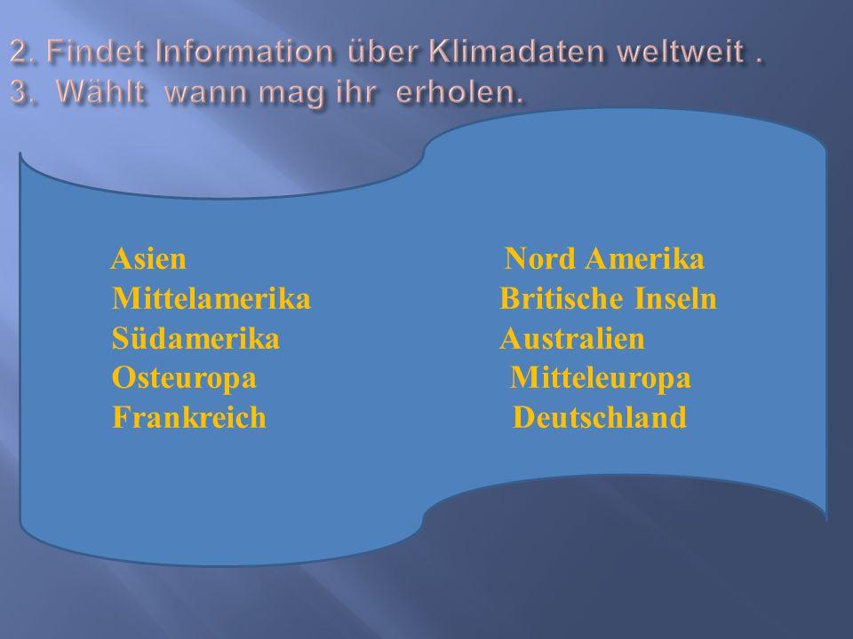 Asien Nord Amerika Mittelamerika Britische Inseln Südamerika Australien Osteuropa Mitteleuropa Frankreich Deutschland