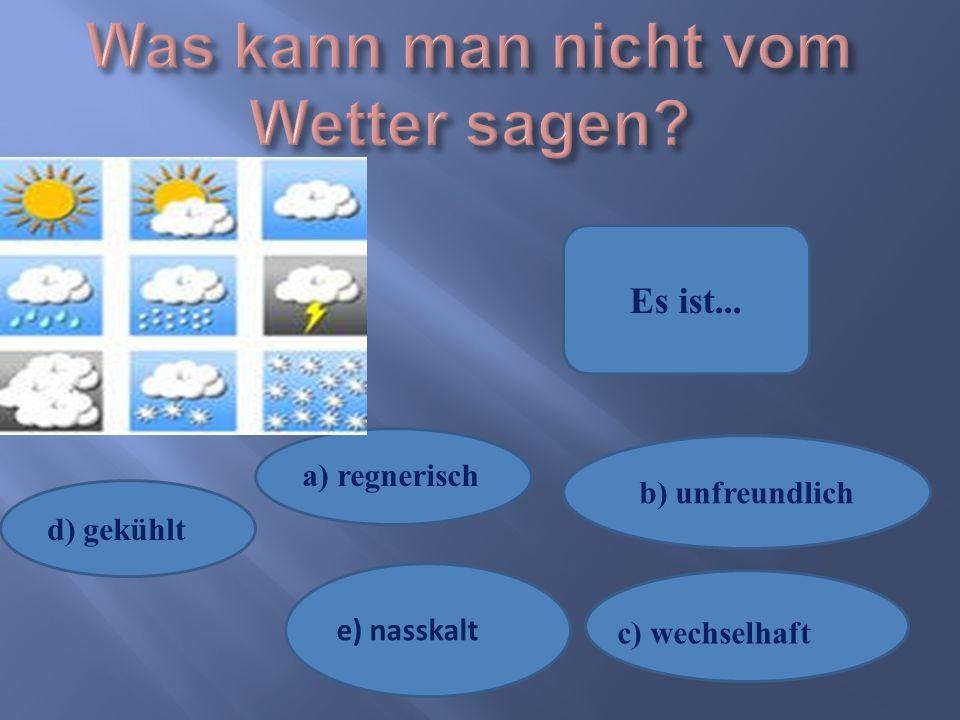 d) gekühlt e) nasskalt b) unfreundlich a) regnerisch c) wechselhaft Es ist...
