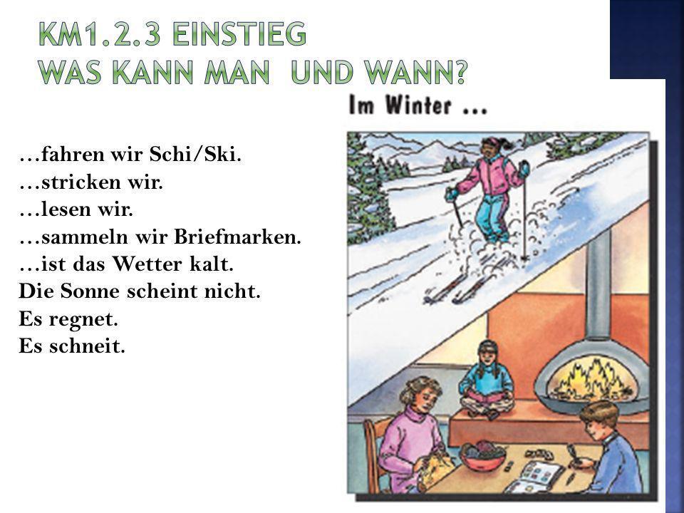 …fahren wir Schi/Ski. …stricken wir. …lesen wir. …sammeln wir Briefmarken. …ist das Wetter kalt. Die Sonne scheint nicht. Es regnet. Es schneit.