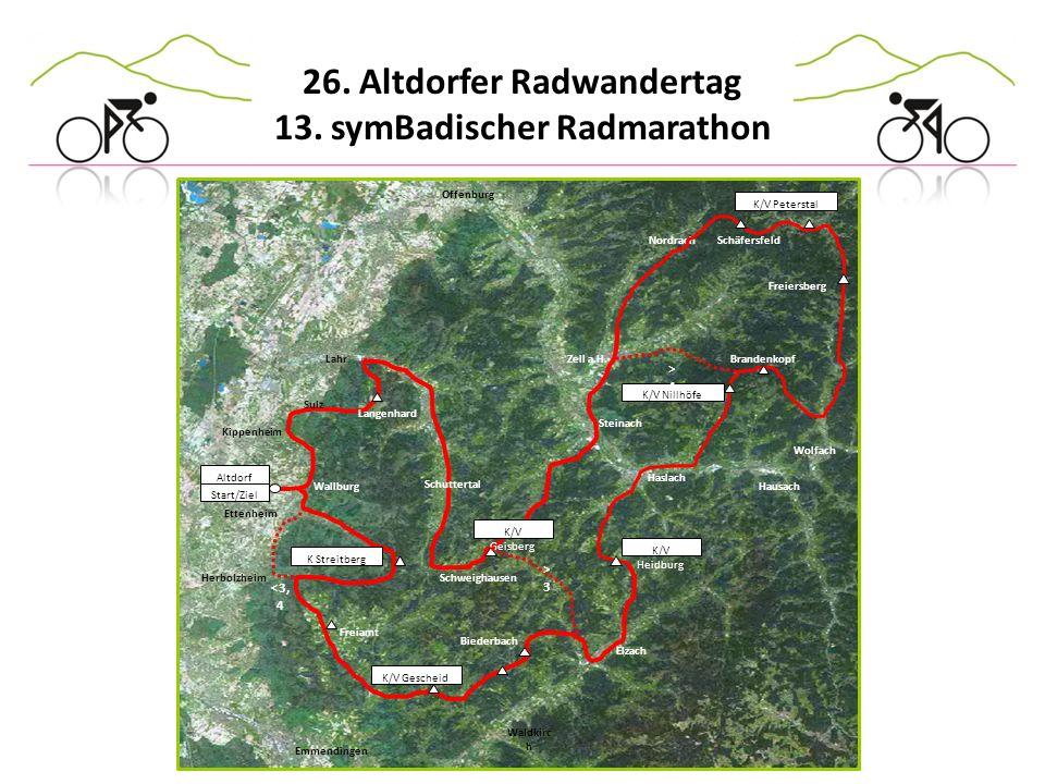 26. Altdorfer Radwandertag 13. symBadischer Radmarathon Offenburg K/V Peterstal Nordrach Altdorf Start/Ziel Lahr Haslach Wolfach Zell a.H. K/V Nillhöf