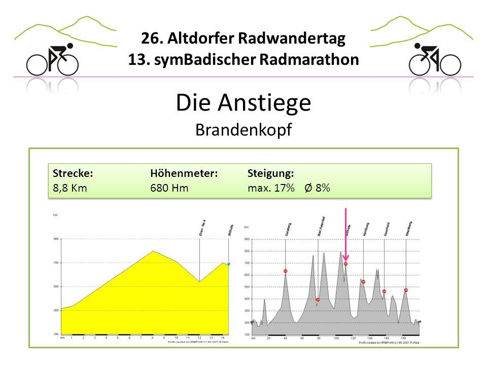 26. Altdorfer Radwandertag 13. symBadischer Radmarathon Die Anstiege Brandenkopf Strecke:Höhenmeter:Steigung: 8,8 Km680 Hmmax. 17% Ø 8% Strecke:Höhenm