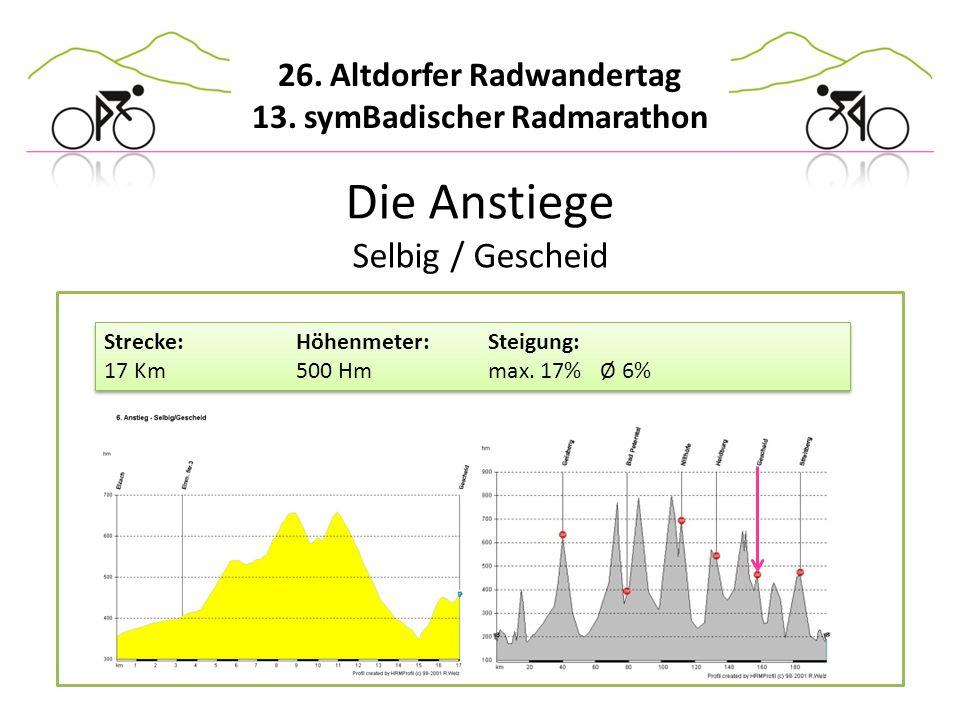 26. Altdorfer Radwandertag 13. symBadischer Radmarathon Die Anstiege Selbig / Gescheid Strecke:Höhenmeter:Steigung: 17 Km500 Hmmax. 17% Ø 6% Strecke:H