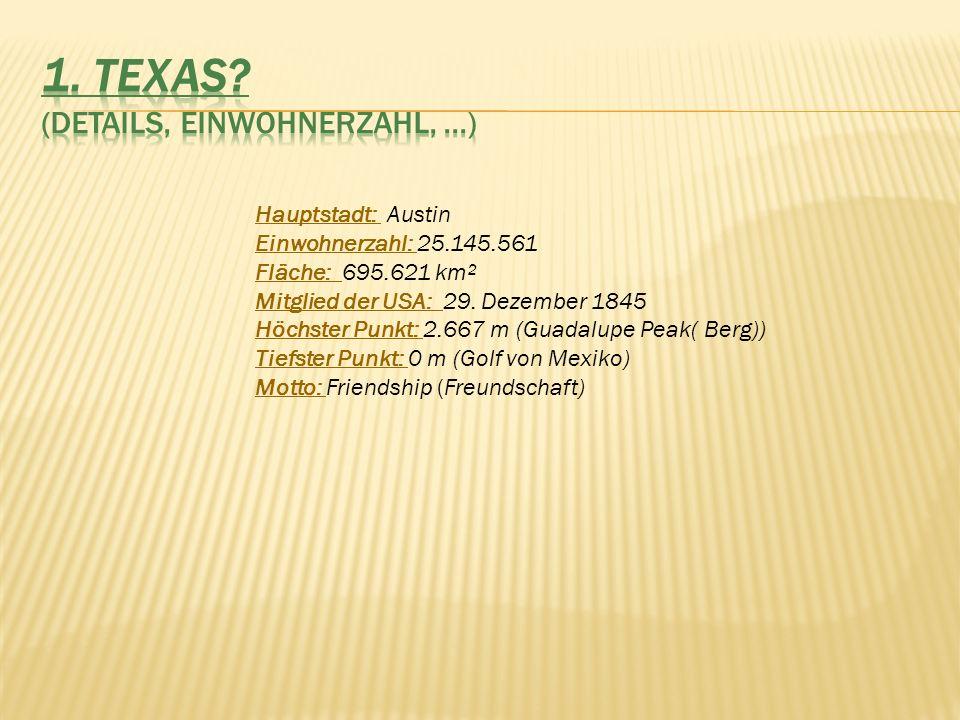 Hauptstadt: Austin Einwohnerzahl: 25.145.561 Fläche: 695.621 km² Mitglied der USA: 29. Dezember 1845 Höchster Punkt: 2.667 m (Guadalupe Peak( Berg)) T
