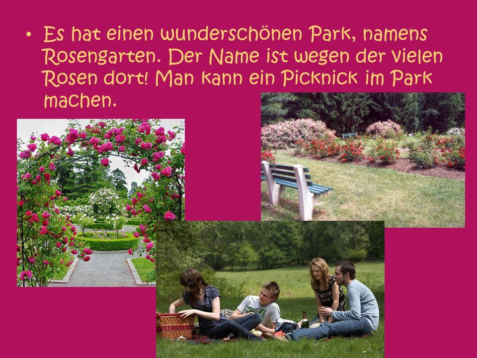Es hat einen wunderschönen Park, namens Rosengarten.