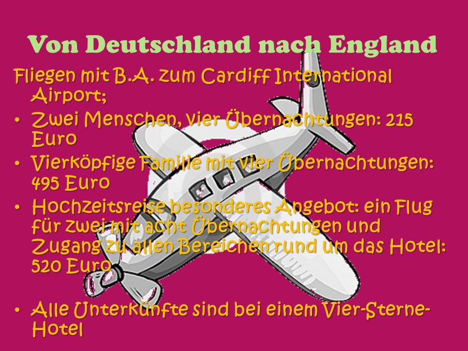 Von Deutschland nach England Fliegen mit B.A.