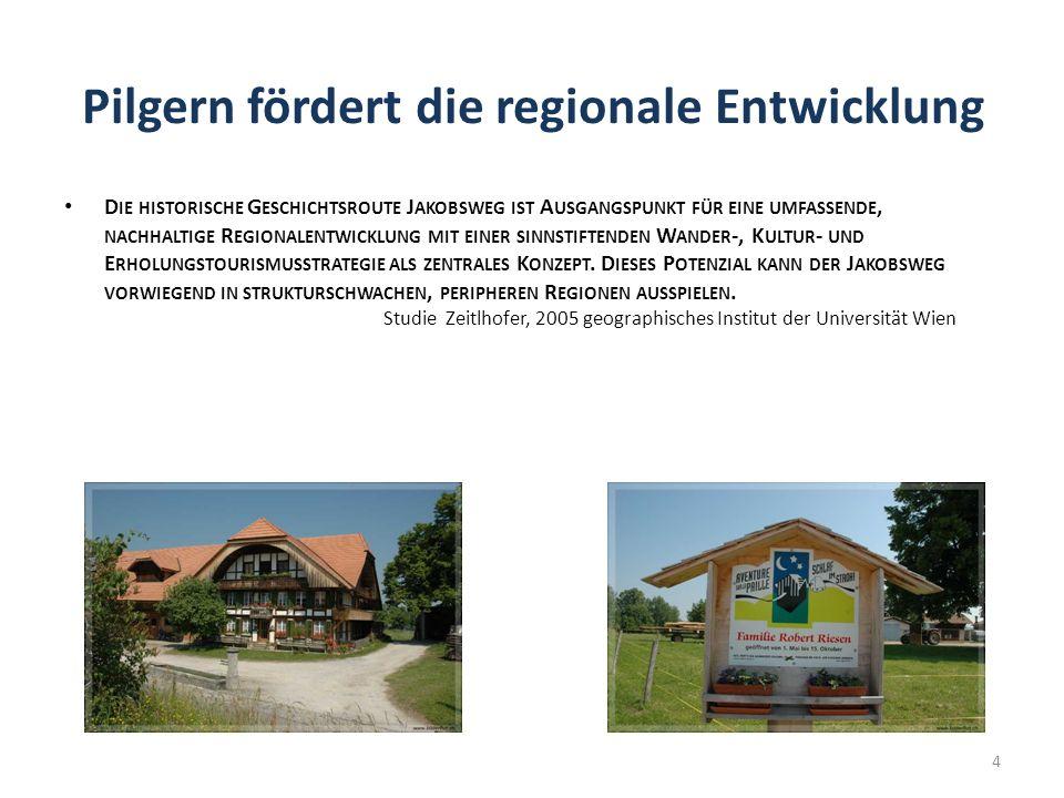 Pilgern fördert die regionale Entwicklung D IE HISTORISCHE G ESCHICHTSROUTE J AKOBSWEG IST A USGANGSPUNKT FÜR EINE UMFASSENDE, NACHHALTIGE R EGIONALENTWICKLUNG MIT EINER SINNSTIFTENDEN W ANDER -, K ULTUR - UND E RHOLUNGSTOURISMUSSTRATEGIE ALS ZENTRALES K ONZEPT.