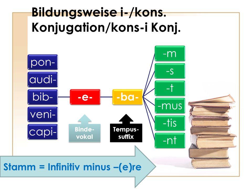 Bildungsweise i-/kons. Konjugation/kons-i Konj. pon-audi-bib- -e--ba- -m-s-t-mus-tis-ntveni-capi- Stamm = Infinitiv minus –(e)re Tempus- suffix Binde-