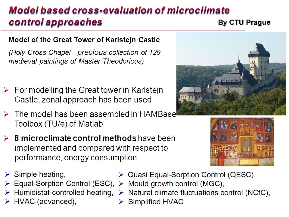 For modelling the Great tower in Karlstejn Castle, zonal approach has been used The model has been assembled in HAMBase Toolbox (TU/e) of Matlab 8 microclimate control methods have been implemented and compared with respect to performance, energy consumption.