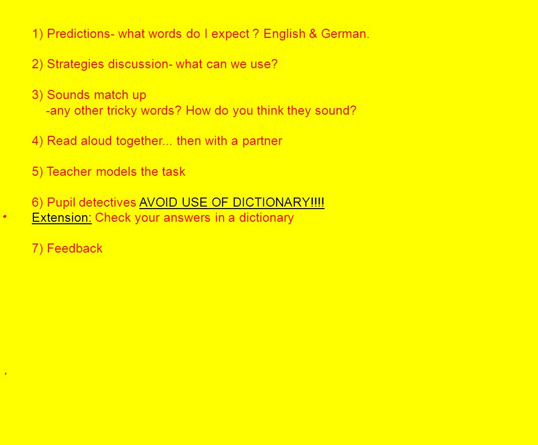 1) Predictions- what words do I expect . English & German.