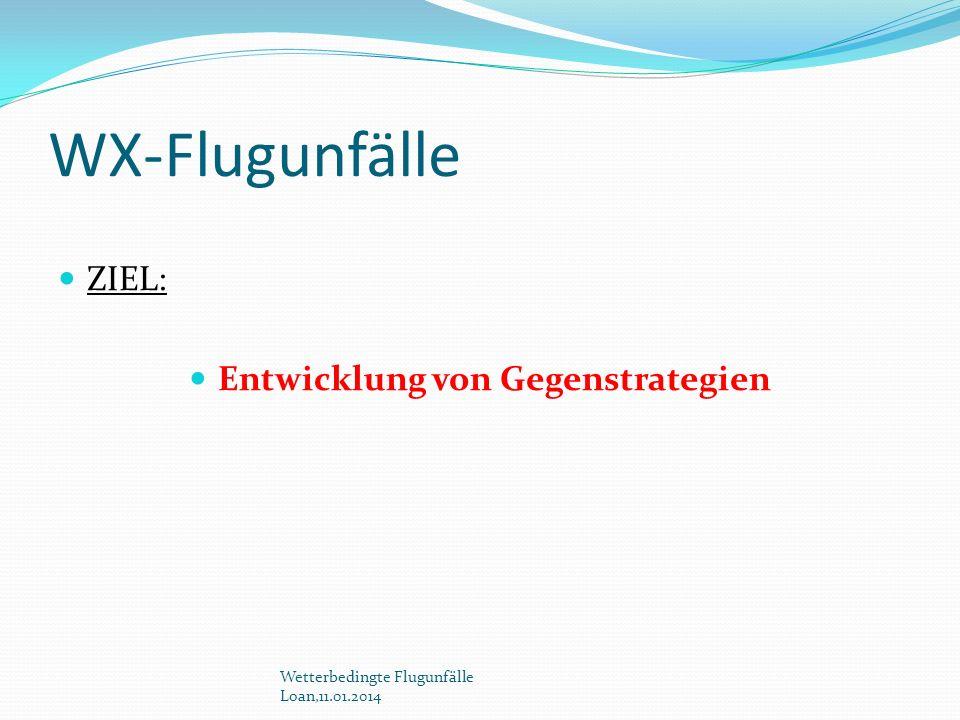 WX-Flugunfälle ZIEL: Entwicklung von Gegenstrategien Wetterbedingte Flugunfälle Loan,11.01.2014