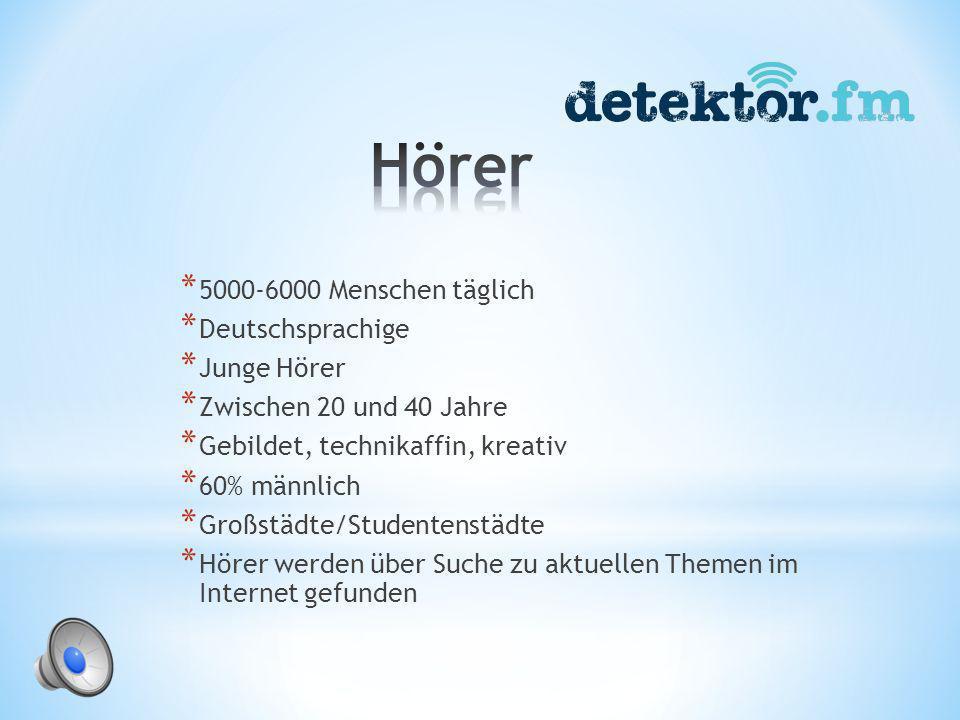 * Detektor.fm-Session * Detektor.fm präsentiert: * Musikvideo der Woche * Album der Woche * Reingehört * Beat.