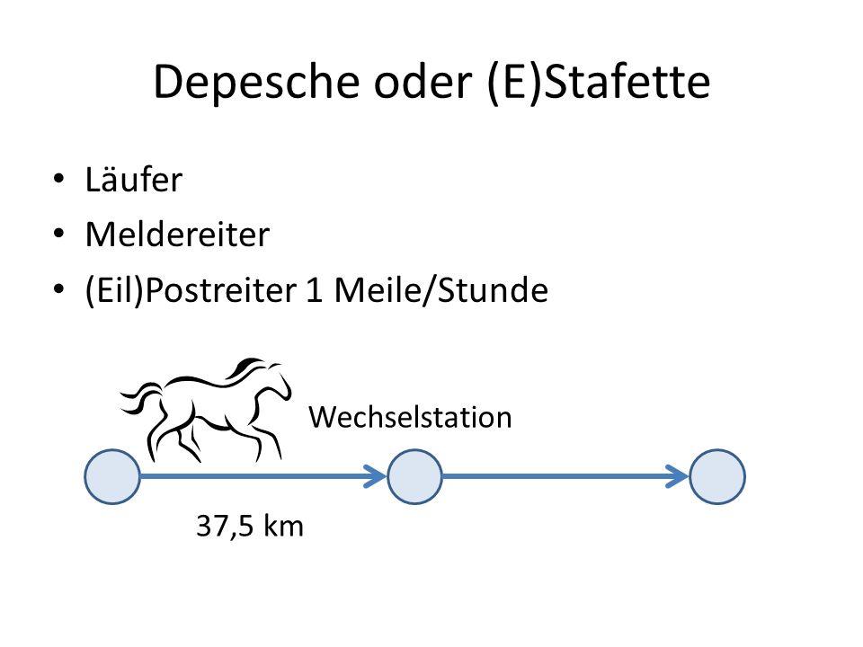 Depesche oder (E)Stafette Läufer Meldereiter (Eil)Postreiter 1 Meile/Stunde Wechselstation 37,5 km