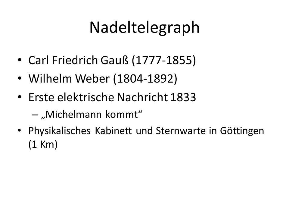 Nadeltelegraph Carl Friedrich Gauß (1777-1855) Wilhelm Weber (1804-1892) Erste elektrische Nachricht 1833 – Michelmann kommt Physikalisches Kabinett u