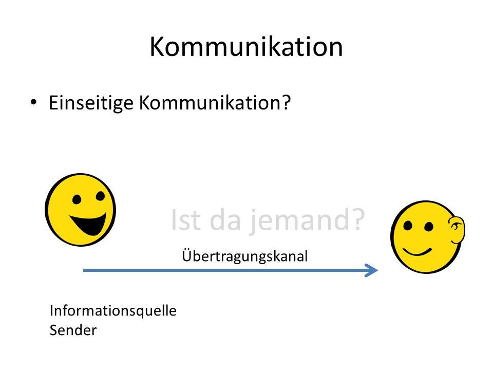 Kommunikation Einseitige Kommunikation? Ist da jemand? Informationsquelle Sender Übertragungskanal