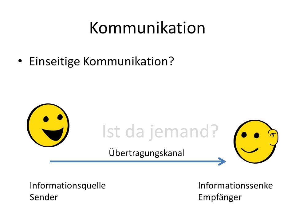 Kommunikation Einseitige Kommunikation? Ist da jemand? Informationsquelle Sender Übertragungskanal Informationssenke Empfänger