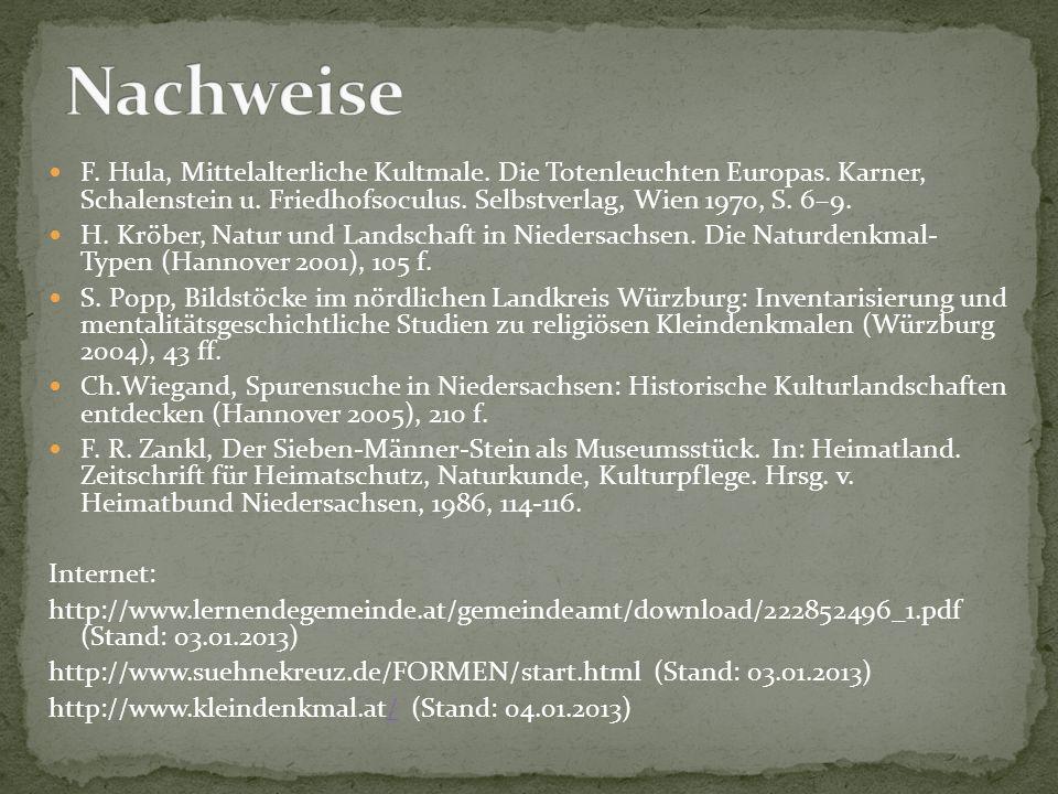 F. Hula, Mittelalterliche Kultmale. Die Totenleuchten Europas. Karner, Schalenstein u. Friedhofsoculus. Selbstverlag, Wien 1970, S. 6–9. H. Kröber, Na