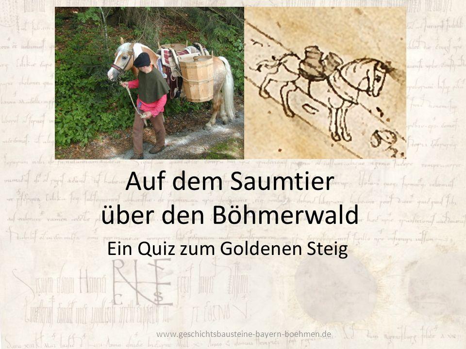 Auf dem Saumtier über den Böhmerwald Ein Quiz zum Goldenen Steig www.geschichtsbausteine-bayern-boehmen.de