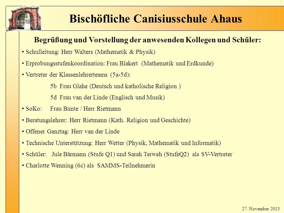 10 Au fna hm eg esp räc he Bischöfliche Canisiusschule Ahaus 8.