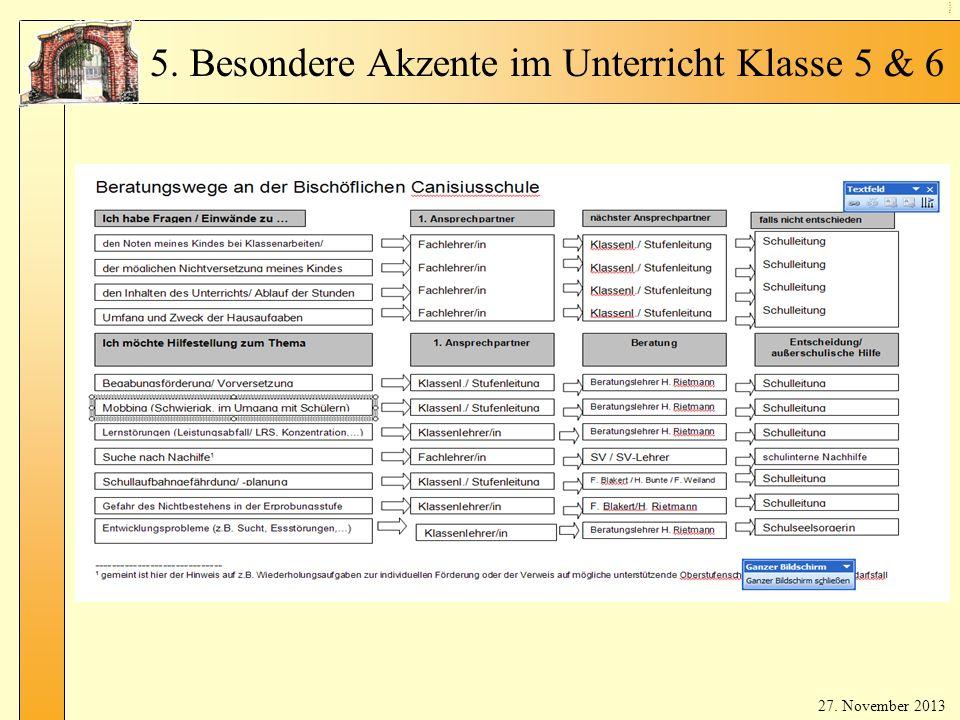 Be rat un gsa ng eb ot 27. November 2013 5. Besondere Akzente im Unterricht Klasse 5 & 6