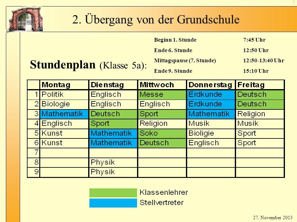 Stu nd en pla n (Kl ass enl ehr er) Stundenplan (Klasse 5a): Beginn 1.