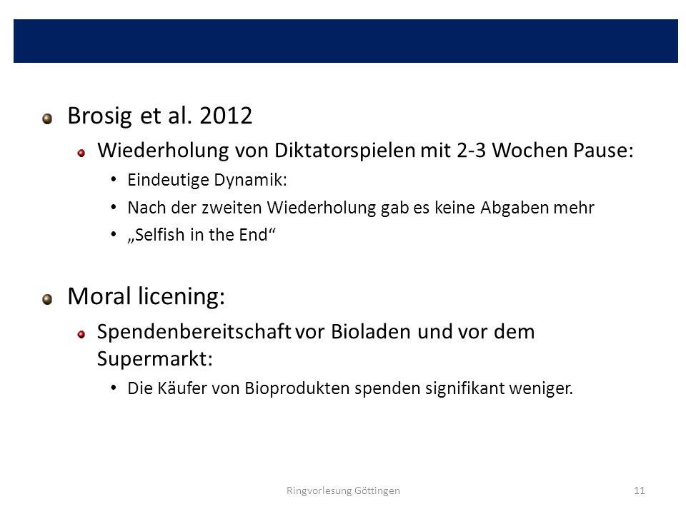 Brosig et al. 2012 Wiederholung von Diktatorspielen mit 2-3 Wochen Pause: Eindeutige Dynamik: Nach der zweiten Wiederholung gab es keine Abgaben mehr